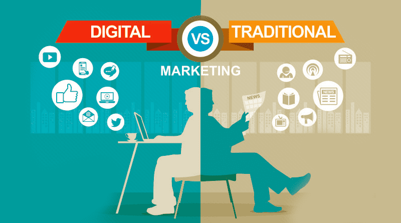 Afbeelding Digital VS Traditonal Marketing